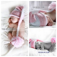 Long tail Santa hat, baby stocking cap, newborn pink crochet hat, infant photo prop, baby elf hat  Handmade with soft acrylic yarn for delicate baby skin (not cheap, scratchy, stiff yarn).   Perfect for Christmas, Easter or other photo opportunity!