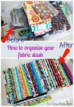 Fabric envy!  How to fold and organise your fabric stash.  Makes things so much easier to find and match.  I'm doing it!