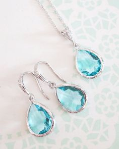 Aquamarine Teardrop Jewelry Set, simple bridesmaid jewelry set, something blue, . Handmade Bridal Jewellery, Bridal Jewelry Sets, Wedding Jewelry, Baby Jewelry, Bridesmaid Accessories, Bridesmaid Jewelry Sets, Bridesmaid Necklaces, Bridesmaid Dresses, Teardrop Earrings