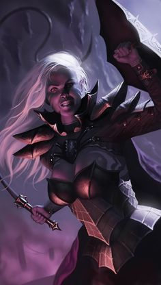 Drow plus whip equals love Picture  (2d, fantasy, armor, dark elf, shield, whip, girl, warrior, dungeons and dragons)