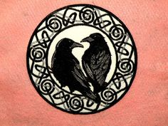 Celtic style iron on patch features a raven pair, Hugin and Munin (thought and memory), bringing news of the world to the Norse god Odin. The border Celtic Raven Tattoo, Small Celtic Tattoos, Tattoos For Women Small, Druid Tattoo, Hugin Munin Tattoo, Custom Embroidered Patches, Wolfsbane, Crows Ravens, Cover Up Tattoos