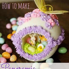 Panoramic Easter Eggs Recipe Breakfast and Brunch, Desserts with egg whites, food colouring, granulated sugar, powdered sugar