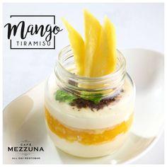 Tickle your taste buds with the creamy goodness of our delicious #MangoTiramisu #soothing #energising #refreshing #CafeMezzuna #Forumcourtyard