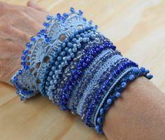 Blue Crochet Bracelet Cuff Beaded Cuff Bracelet Bracelet