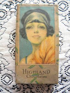 Antique 1920's Candy Box with Beautiful by SongbirdSalvation