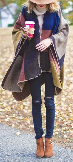 colorblock wool poncho