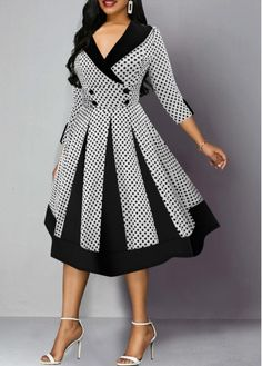 Dresses For Women Nice Dresses, Casual Dresses, Dresses With Sleeves, Ankara Skirt And Blouse, Club Party Dresses, Dress Neck Designs, African Dresses For Women, Classy Dress, Dot Dress