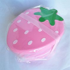 Strawberry Pink two-tier Bento Lunch box w/ belt  food container from Japan  #Daiso