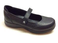 Crocs Womans Size 8 Saffron Mary Jane Leather Non Slip Work Shoes | eBay