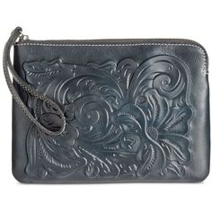 Patricia Nash Cassini Tooled Wristlet ($69) ❤ liked on Polyvore featuring bags, handbags, clutches, navy, blue leather purse, wristlet clutches, navy blue clutches, coin purse and leather clutches