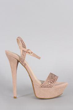 413cbac79377 Anne Michelle Rhinestone Suede Ankle Strap Platform Heel