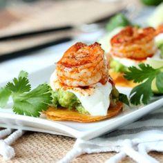 Mini Shrimp Tostadas - A wonderful appetizer made with guacamole and yogurt onion dip.
