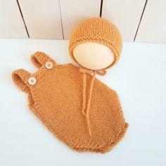 Easy Baby Playsuit & Bonnet set (Aran) Knitting pattern baby romper baby bonnet aran yarn