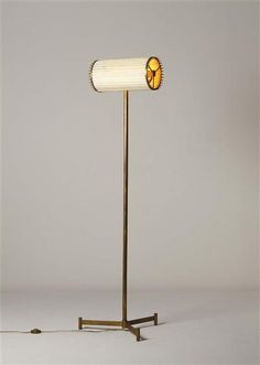 Angelo Lelli Attributed, Brass and Painted Metal Floor Lamp for Arredoluce, c1955.