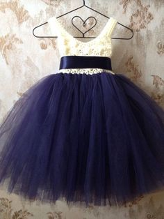 Navy blue and ivory umpire flower girl tutu dress crochet by Qt2t, $69.99