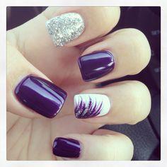 My nails! : My nails! Fingernail Designs, Acrylic Nail Designs, Nail Art Designs, Stylish Nails, Trendy Nails, Nail Deco, Nagellack Design, Purple Nail Designs, Purple Nails