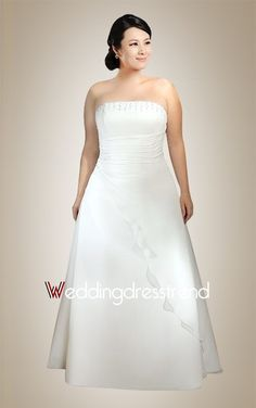 Simple Beading Strapless Lace-up Plus Size Wedding Dress