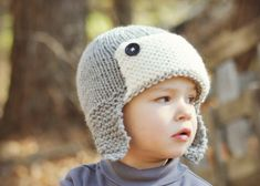 Boys Chunky Knit Trapper Aviator Hat Grey with by slouchiehats