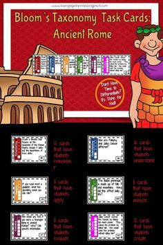 Ancient Rome Bloom's Taxonomy Task Cards Teaching Latin, Teaching History, Student Teaching, Teaching Tools, Teaching Ideas, 6th Grade Social Studies, Social Studies Resources, Ap World History, Study History