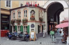 Charming little corner of a small square in the Altstadt (Old Town), Salzburg