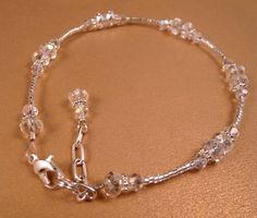 Crystal Ankle Bracelet Crystal Anklet Beaded by bluerosebeadery Crystal Jewelry, Beaded Jewelry, Silver Jewelry, Beaded Bracelets, Handmade Wire Jewelry, Handmade Bracelets, Beaded Anklets, Jewelry Patterns, Jewelry Ideas