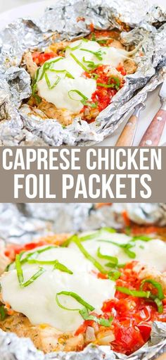 Toss these Caprese Chicken Foil Packets in the oven or on the grill for an easy dinner. Great for camping! 307 calories and 5 Weight Watchers SP | For the Grill | For the Oven | Healthy | Campfire | Italian | Grilling recipes | Camp fire #foilpackets #hobopacks #capresechicken #chickenrecipes #healthychicken #weightwatchers Yummy Chicken Recipes, Yum Yum Chicken, Great Recipes, Top Recipes, Favorite Recipes, Chicken Foil Packets, Caprese Chicken, Clean Eating Dinner, Camp Fire