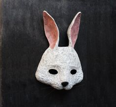 White Rabbit/ White Bunny Mask Masquerade Carnival Paper Mask, Fancy Dress, Papier Mache, Party Mask, Animal Mask, Festival Mask