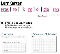 LernKarten - Presse & redigieren Marketing, Author, Learning Methods, Note Cards, Project Management
