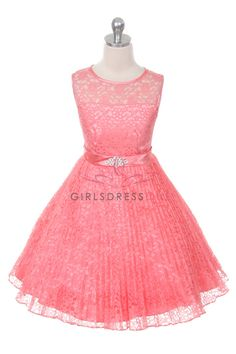 Coral+Lace+Pleated+Flower+Girl+Dresses+A3527-CR+$42.95+on+www.GirlsDressLine.Com