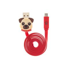 Stay connected in the cutest way with this pug dog USB cable. The red USB cable is decorated with a pug dog on one end and a paw print on the other. Compatible…
