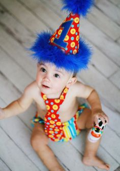 Boys Birthday Party Hat, Diaper Cover and Tie - First Birthday, Smash Cake Pics, Photo Prop - Primary Color Circus Style
