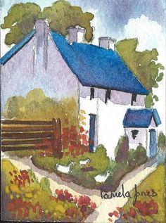 ACEO Original Watercolour Country Cottage by Pamelajonesartstudio