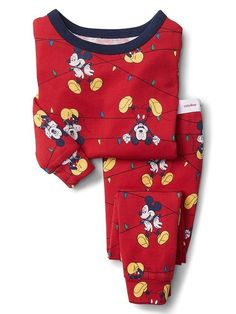 8a74e3187 Gap Baby Babygap | Disney Baby Mickey Mouse Festive Lights Sleep Set Modern  Red Baby Mickey