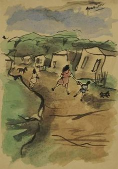 Artwork by Jules Pascin, 3 Works: Figures on a Road near a Village; Figure Studies, Made of Watercolor, drawing in pen and ink