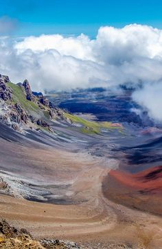 The beautiful colors seen in the massive volcanic crater at Haleakala National Park