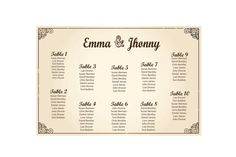 Wedding Seating Chart  By table No.   No.5  by PartyJony on Etsy, $22.00