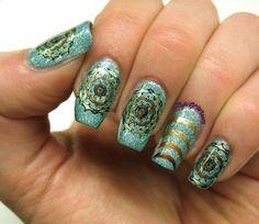 Psychedelic Sun #green #gold #nailart Download #beautyapp - bellashoot to see more!