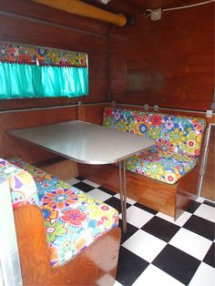 Another view of the cushions in Kelle's trailer.  Love the checkerboard floor!
