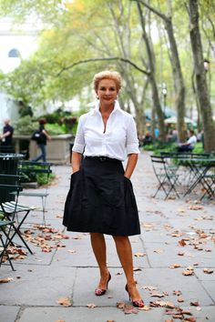 Carolina Herrera- love her signature look.  White button down shirt and a full skirt.  Classic for any age.