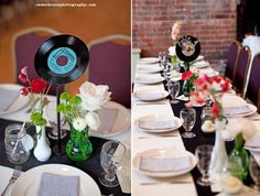 vintage records as table numbers