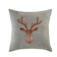 Coussin cerf  en laine et cuir 45 x 45 cm ANTLER