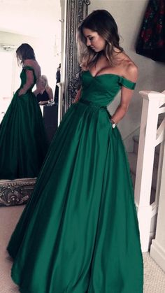 4ed5390334f Dark Green Satin V-neck Prom Long Dresses Off Shoulder Evening Gowns Beaded  Sashes