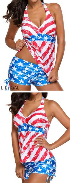 Open back star print side drawstring tankini set # swimsuit elaine johnson · of july outfits Patriotic Swimwear, 4th Of July Swimsuits, Diy Clothes, Clothes For Women, Size Zero, 4th Of July Outfits, Studio 54, Blue Swimsuit, Star Print