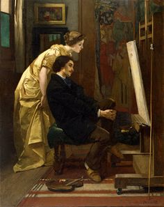 The Painter and His Model 1855 Alfred Stevens (1823-1906) Famous Belgian Painter ~ Blog of an Art Admirer