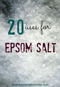 20 Ways to Use Epsom Salt. The variety of uses for Epsom salt may surprise you. Keeping a carton on hand may be one of the wisest household decisions you will make. It is inexpensive and most applications to not require much. Health Remedies, Home Remedies, Natural Remedies, Holistic Remedies, Health And Beauty Tips, Health And Wellness, Health Care, Epsom Salt Uses, Do It Yourself Home