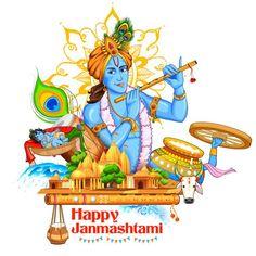 Lord Krishana in Happy Janmashtami — Stock Illustration