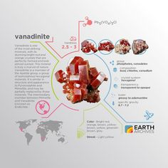 Originally discovered in Mexico by Spanish mineralogist Andrés Manuel del Río in 1801. He called the mineral 'brown lead'. #science #nature #geology #minerals #rocks #infographic #earth #vanadinite