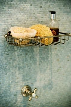 Suzie: Sage Design - Mosaic tiles shower surround, brushed nickel vintage shower caddy and ...
