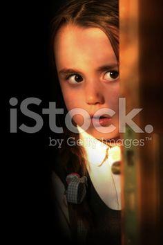 Girl at door royalty-free stock photo