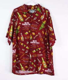 Big Dogs Mens L Red Rayon BBQ Rules Beer Beach Hawaiian Button Front Shirt…